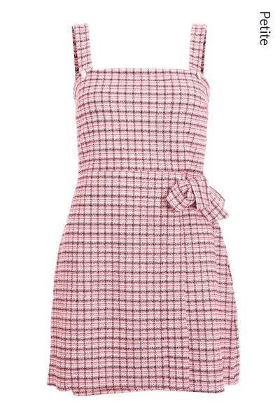 Petite Pink Check Pinafore Dress